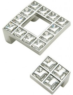 Crystal Small Square Knob 25 x 25mm