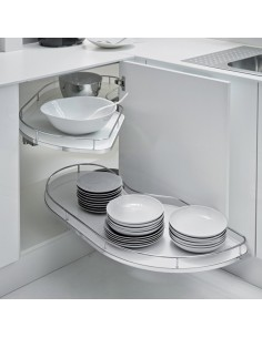 Fly Moon Corner Pull-Out Shelving Units To Suit 1200mm Units - 600mm Doors