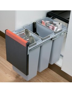 Cube 300mm Kitchen Unit Waste Bin, 2x15 Or 3x10 Litres