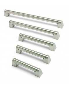 Angled Boss Bar Handles 22mm Diameter Brushed Nickel