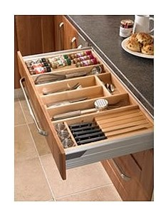 Solid Beech Cutlery Tray + Includes Knife/Spice Inserts