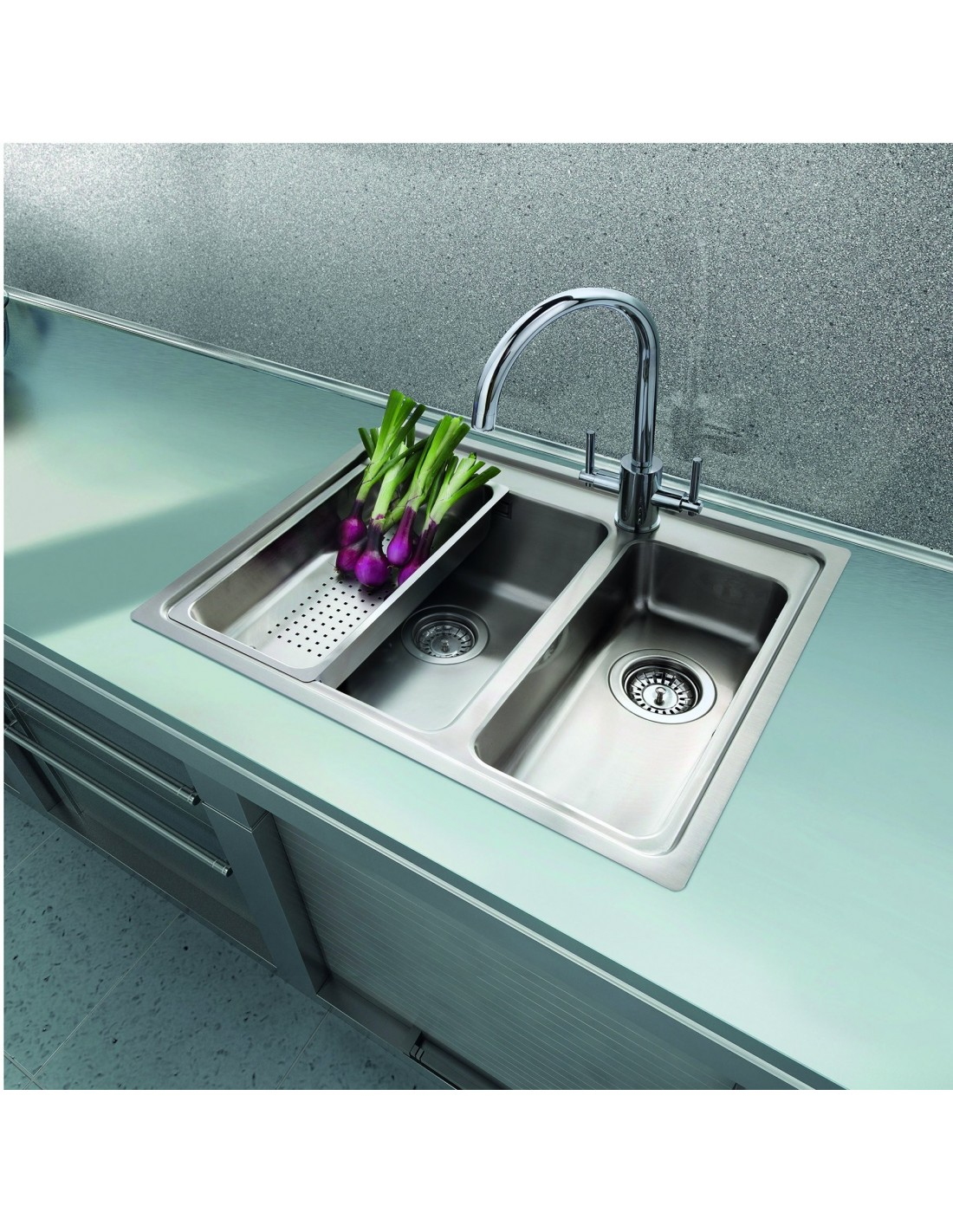 Topmount 1.5 Bowl Inset Sink With Tap Hole, Modern Square