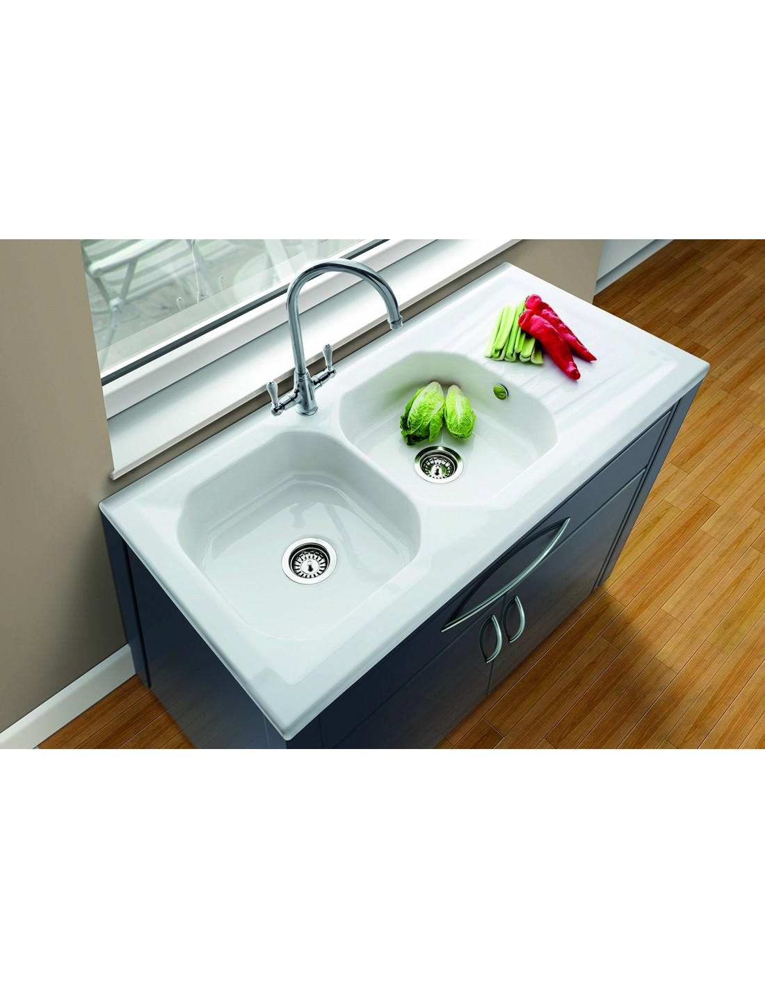 Sit On Double Drainer Single Bowl Sink Stainless Steel
