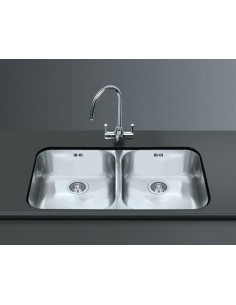 Smeg Alba Undermount Double Bowl Kitchen Sink Stainless Steel