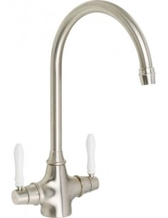 Rangemaster Belfast Mixertap White Levers Brushed