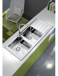 Clearwater Linear Plus Kitchen Sink Stainless Steel Double Bowl