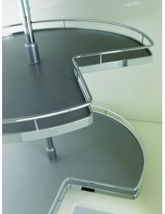 Kessebohmer 3/4 Corner Carousel Arena Grey/Chrome 700mm Dia