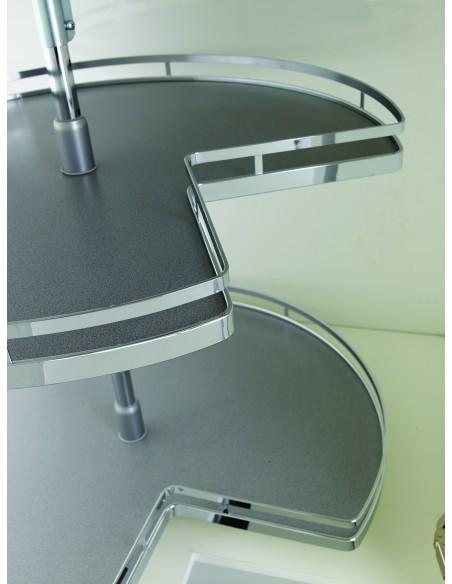 Kessebohmer 3/4 Corner Carousel Style Grey/Chrome 700mm Dia