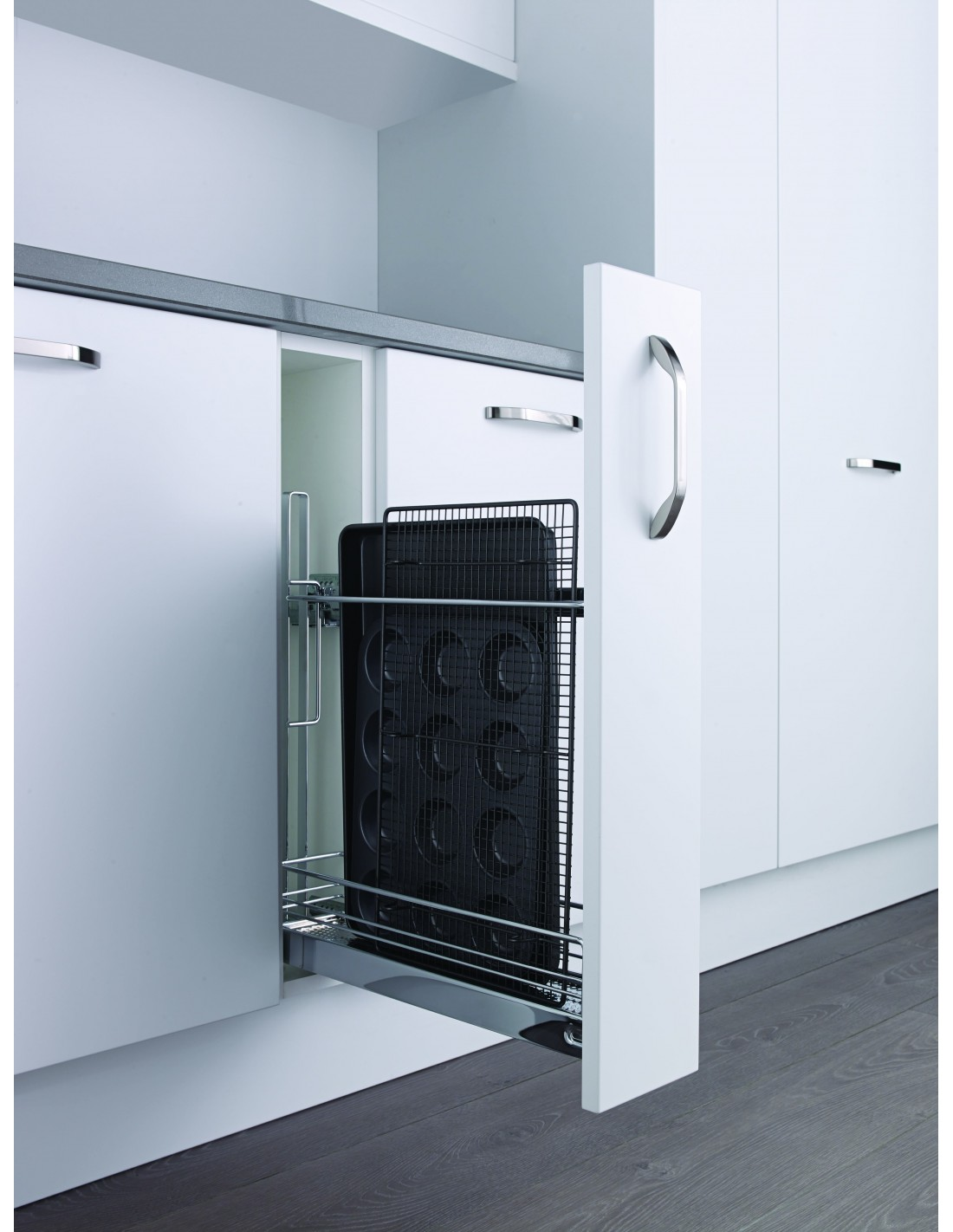 Black or white 150mm pull out base storage baskets suits for Narrow kitchen units
