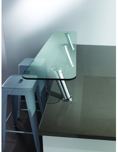 20 Degree Breakfast Bar Support Glue To Glass Polished/Matt Chrome