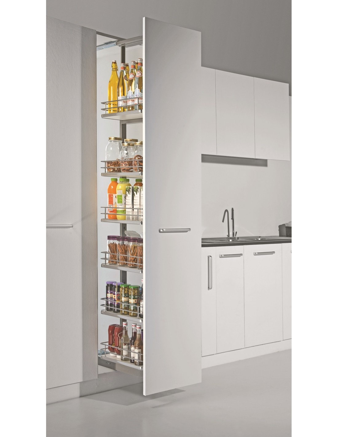 clear kitchen cabinets sestino italian pull out larder system suits 500mm wide 13644