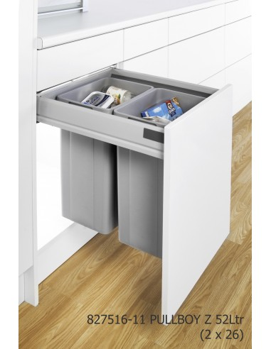 Grey 500mm wesco pullboy z kitchen waste bin pull out for Kitchen cabinets 500mm depth