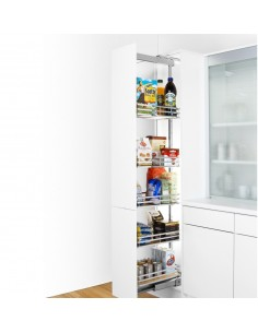 300mm Peka Linea Larder Pull Out Chrome Baskets Four Heights