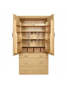Wooden Oak Tall Larder & Pantry & Accessories Set