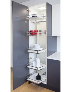 600mm Swing Out Tall Larder 1750mm High Solid White Bases, Five Baskets