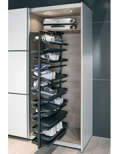 Wardrobe Unit Cloakroom Stackable Shoe Rack Chrome