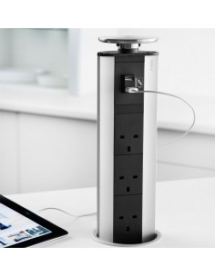 Evoline Port X3 UK Sockets & USB Silver