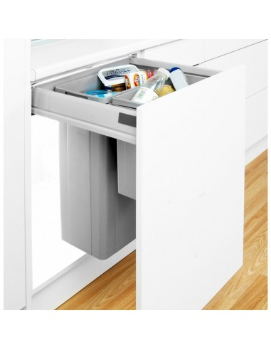 Grey 500mm wesco pullboy z waste bin blum 450mm depth 828518 for Kitchen cabinets 450mm depth
