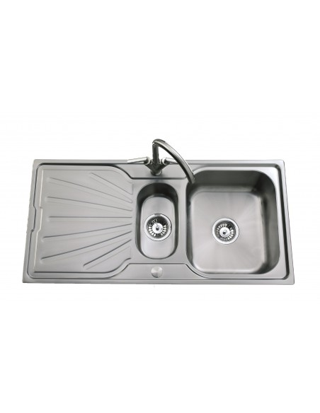 Clearwater Deep Blue Stainless Steel Sink 1.5 Bowl Brushed/Linen