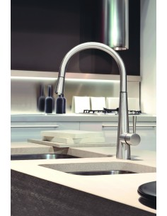 Gessi JUST 20587 Mixer Tap Pull Out Rinse & LED Coloured Light Chrome/Brushed