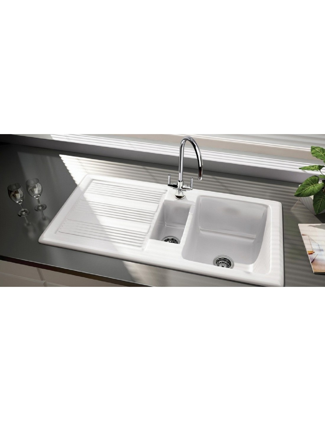 Rangemaster Ceramic Portland 1 5 Bowl Sink Gloss White Includes Waste Kit