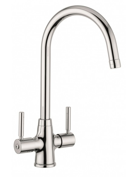 Clearwater Davenport Chrome/Brushed Monobloc Kitchen Tap Twin Lever