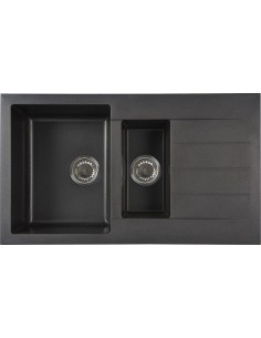 Kemp Black Square Granite Kitchen Sink & Waste 1.5 Bowl
