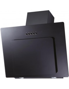 PRAE0022 90cm All Black Angled Extractor Fan Black Glass