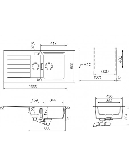 Schock Signus D-150 Cristadur Kitchen Sink & Waste Technical Drawing