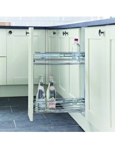 150mm Storage Baskets For Kitchen Base Units Chrome