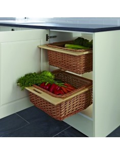 54057001 Wicker Baskets & Runners Set For 400/500/600mm Cabinet Beech/Oak