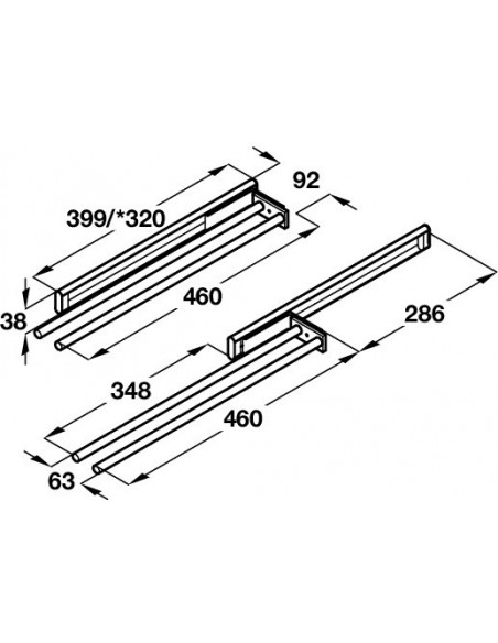 Telescopic Towel Rail 2 Rails Silver