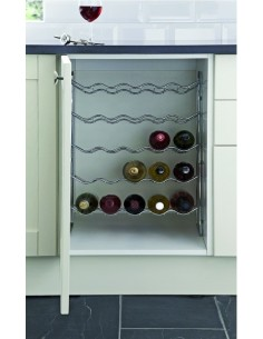 Kitchen Unit Wine Rack 300-500mm Widths Chrome Takes 15/25 Bottles