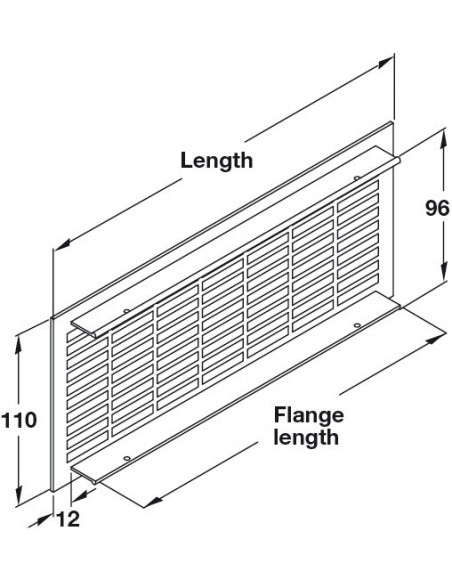 Ventilation Grill 250/500mm x 110mm Recess Mount, Matt Silver