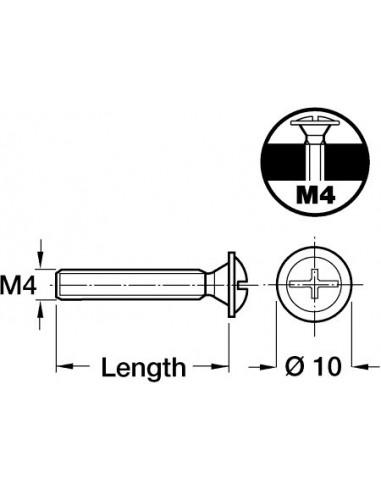M4 Handle Screws Flat Head Zinc-Plated Steel x 2