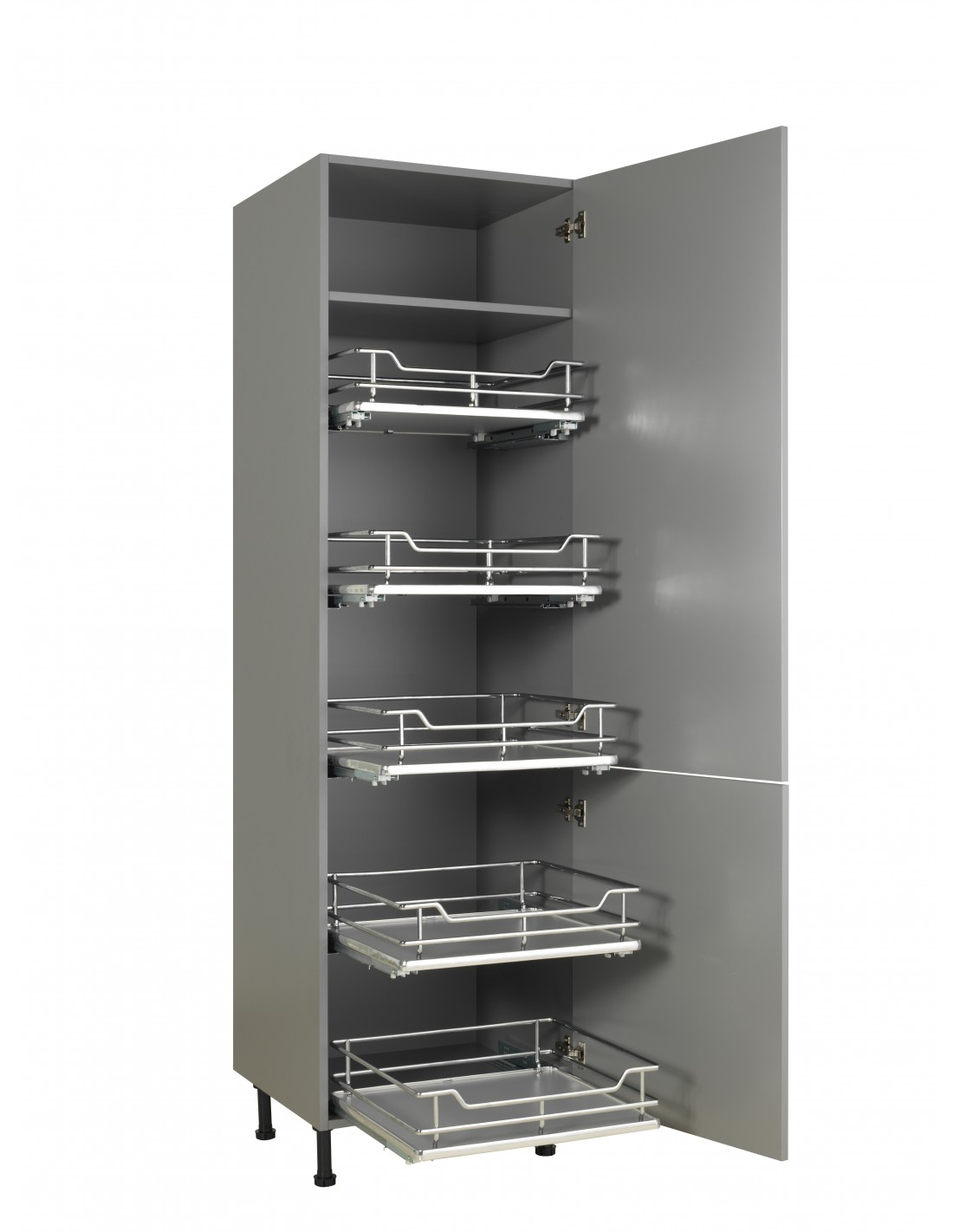 Five 300mm individual pull out shelving basket drawers for Tall kitchen drawer unit