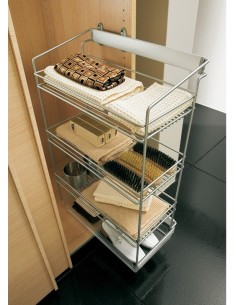 Hafele Pull Out Shoe Rack Side Mounted 2/3 Tier Silver Frame & Baskets