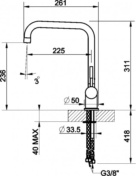 Gessi Oxygen 50309 Swivel U Spout Single Lever Mixertap Chrome/Brushed