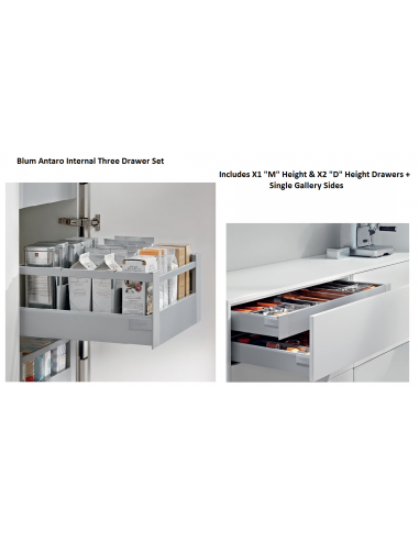 Blum internal cabinet drawer set cutlery drawer x2 pan for Kitchen cabinets 500mm depth