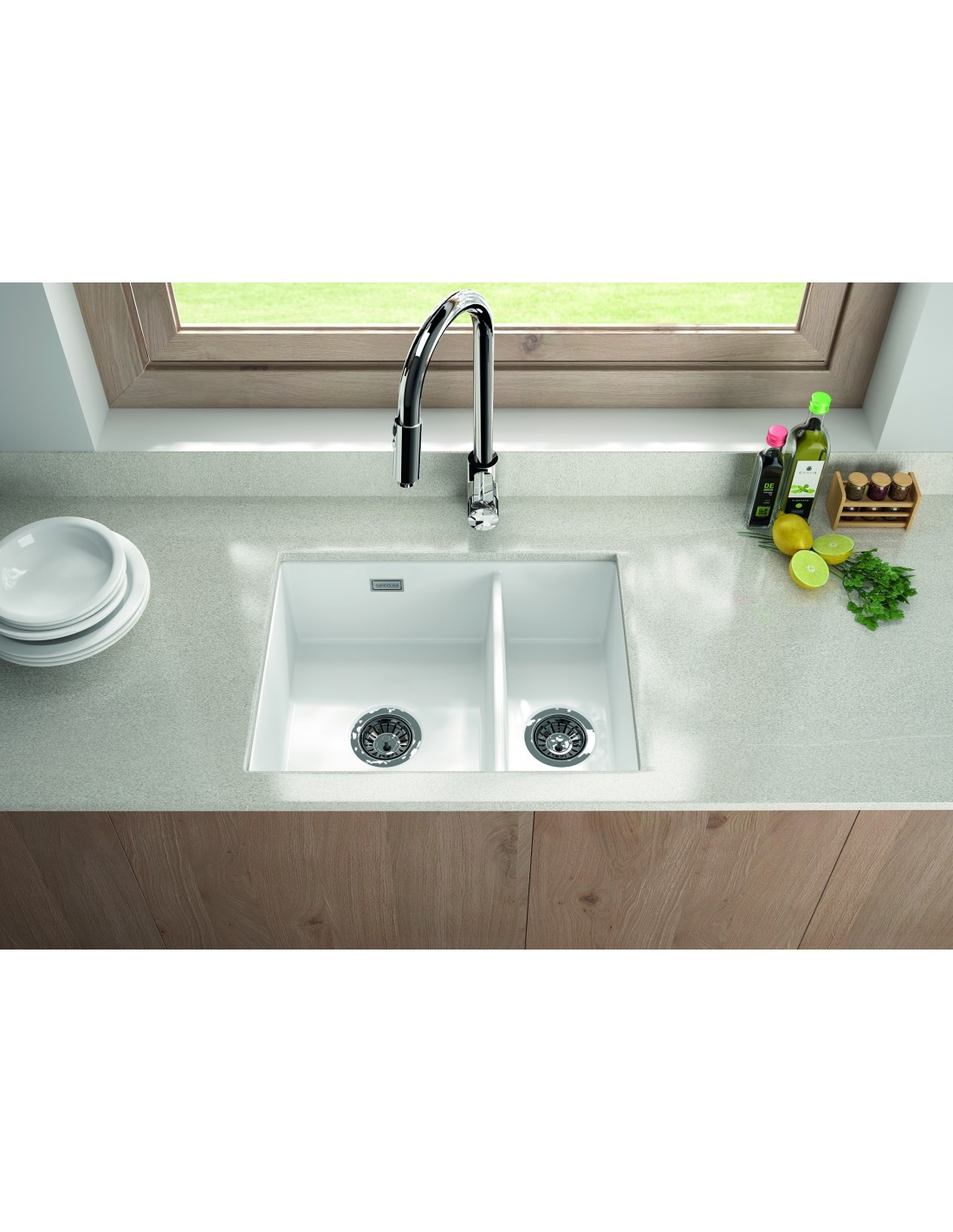 Metro By Thoms Denby MET1020 1.5 Bowl Ceramic Sink, Universal ...