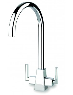 Clearwater Aztec AZT Twin Lever C Swivel Spout Kitchen Tap Chrome/Brushed