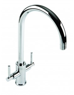 18/10 Curvato Round Spout Twin Lever Kitchen