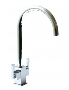 18/10 Ruscello Square Body Twin Lever Kitchen Tap