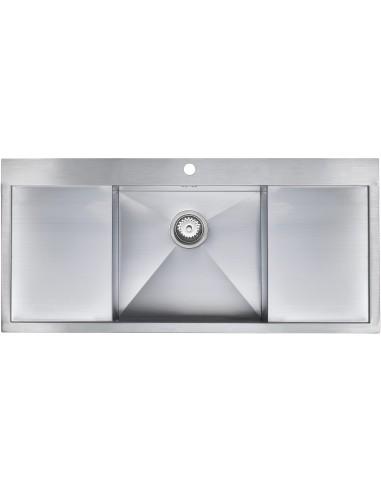 zenuno 45i f single bowl double drainer sink - Double Drainer Kitchen Sink