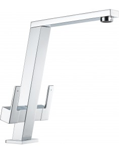 1810 Pendenza Kitchen Tap Chrome/Brushed Modern Twin Levers