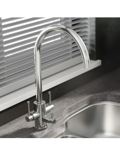 1810  Curvato Trio Water Filter Kitchen Tap Chrome/Brushed