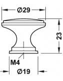 30mm Furniture Door Knob Chrome, Brass Or Matt Nickel
