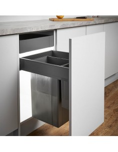 450mm Pullboy Z Waste Bin/Blum Legrabox 37L Softclosing