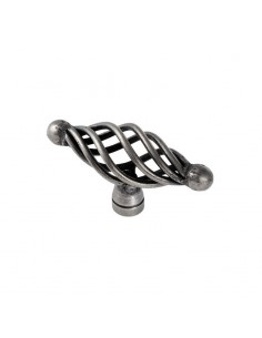 Cage Knob Door Handle Pewter 66mm Length