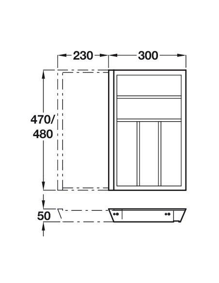 Expanding Cutlery Tray Insert OAK To Suit 500mm Depth